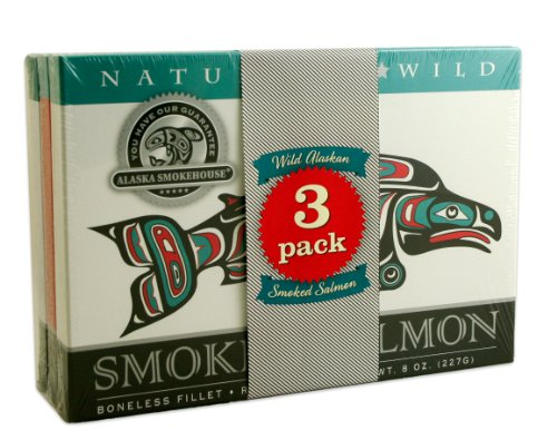 Alaska Smokehouse Jumbo Smoked Salmon (8 Oz), 3Count Variety Pack