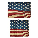 Rustic American Flag Placemats Tables Mats Set of 6 for Kitchen Dining Patriotic USA Flags 4th July Double Sided Tablemats Place Mats Farmhouse Place Mat for Holiday Wedding Party Home Decor