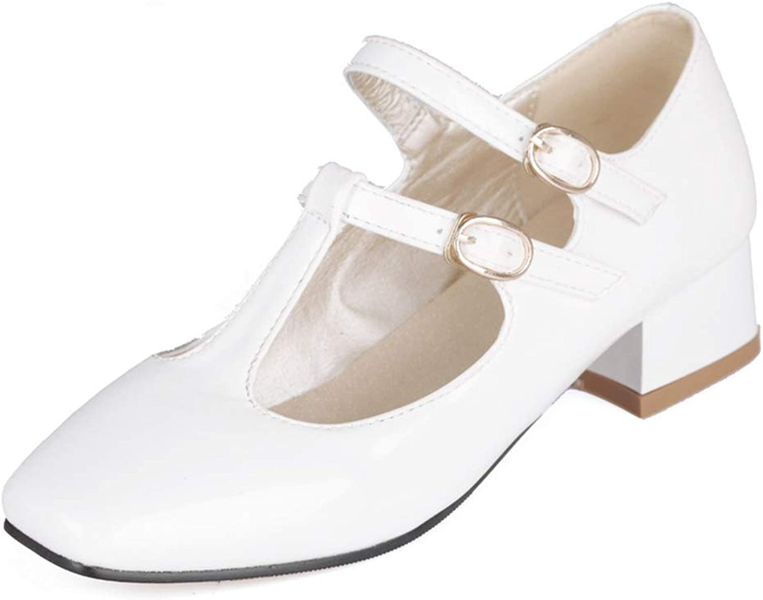 CYBLING Women's Classic T-Strap Mary Jane Pumps Low Heel Square Toe Oxfords Dress shoes