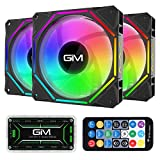 GIM KB-10 RGB Case Fans, 3 Pack 120mm Quiet Computer Cooling LED Fan for PC case and CPU Cooler, Colorful Rainbow Speed Adjustable Cooler with Hub