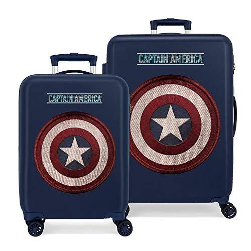 Marvel Los Vengadores Captain America Juego de Maletas Azul 55/68 cms Rígida ABS Cierre combinación 104L 4 Ruedas Dobles Equipaje de Mano