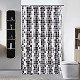 None/Brand Yemiany Badezimmer Duschvorhang,Badezimmer Gardinen,wasserdichte Badezimmervorhänge aus mit Formwiderstandsfähigkeit,Wannenvorhang mit 8-teiligen Haken für Badezimmer(Mosaikmuster,100 x 180cm)