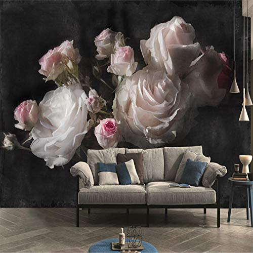 SUNNYBZ Drucken Sie Wandkunst, Pink Blume Rose 260X175 Cm 3D Selbstklebende Wandmalerei Aufkleber Kunst Plakat Verdickung -Wallpaper Auf Leinwand Für Wohnzimmer, Büro, Dekoration, Geschenk
