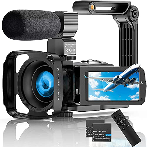Video Camera Camcorder,4K Ultra HD 56MP 30FPS IR Night Version Vlogging Camera 3.0 Inch Touch Screen 18X Zoom WiFi Digital Camera YouTube Recorder Camera with Microphone,2.4G Remote Control,Lens Hood
