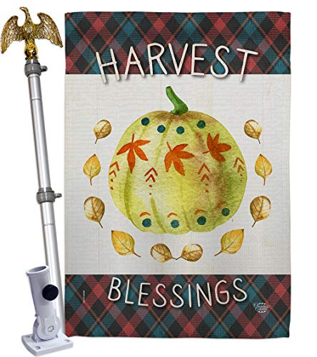 Ornament Collection Colorful Pumpkin Thanksgiving House Eagle Set Fall Turkey Give Thanks Gobble Season Autumntime Cornucopia Flag-Decoration Banner Small Garden Yard Gift Double-Sided, Made in USA