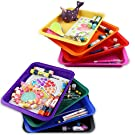 Set of 8 Kids Activity Plastic Tray, Rainbow of Colors, Arts and Crafts Organizer Tray, Serving Tray, Great for Crafts, Beads, Orbeez Water Beads, Painting and Montessori Work