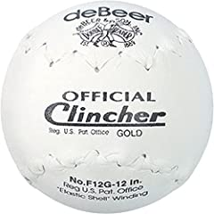 deBeer 12-inch white leather softballs Poly-core centers and Trutech leather covers Intended for recreational games and batting practices Clincher stitching Elastic shell winding