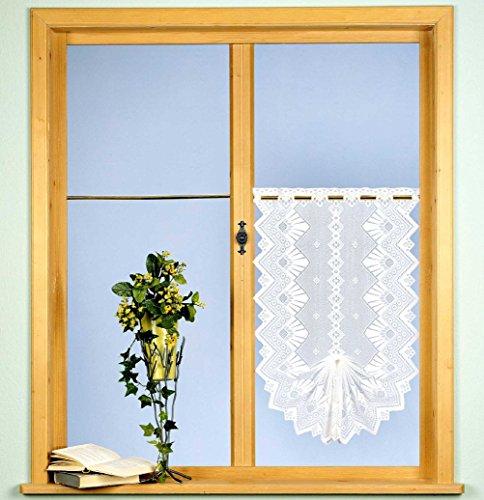 Gardine Scheibengardine Fensterbild Jacquard Country Cottage HxB 90x52 cm in weiß - Deko Schwalbenschwanz - Vorhang in geprüfter Qualität - Ökotex …auspacken, aufhängen, fertig! Typ86