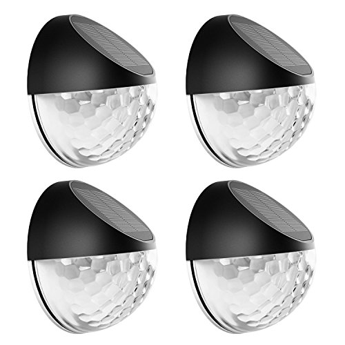 Eleganted Solar Lights Outdoor,Auto On/Off Dusk to Dawn Wireless Solar Fence Light,Waterproof Led Solar Sensor Garden Decorative Lamp for Pathway Wall Fence Steps Patio Yard Porch Stairs (Pack of 4)