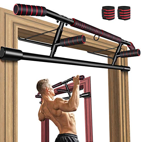 Gruper Pull Up Bar for Doorway, No Screw Chin Up Bar for Home Workout, Training Equipment for Men, Ergonomic Design Hand Bar with Anti-Slip NBR Foam Covered, Bonus Wrist Straps, Fits Most of Doors