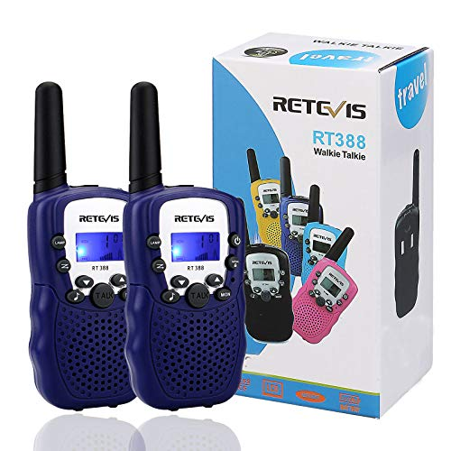 Retevis RT-388 Kids Walkie Talkies,22CH Walkie Talkies for Kids Toys with Belt Clip and Flashlight,Birthday Gifts to Outdoor Camping Hiking (Blue, 2 Pack)