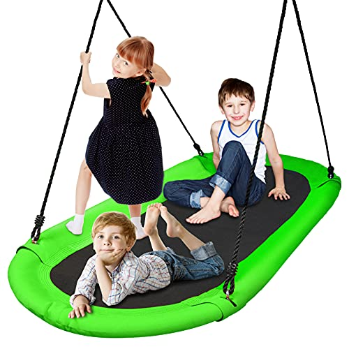 SereneLife Surf Saucer Tree Swing - Kids Outdoor Tree Hanging Giant Saucer Platform for Playground Playroom or Backyard w/ Rope Straps, Cushion Padded Metal Frame - SereneLife SLSOVSWNG55GR (Green)