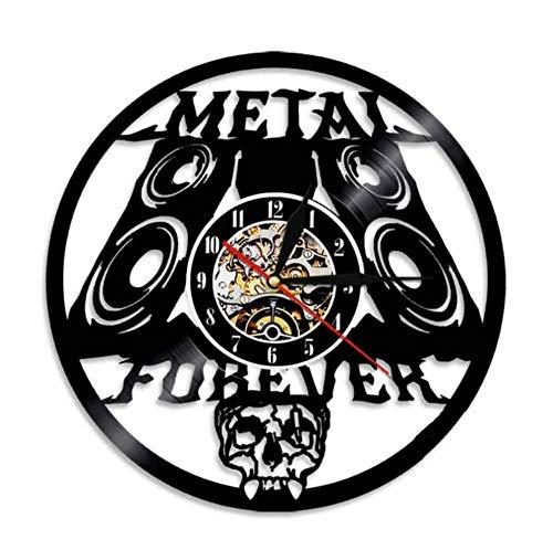 DFERT Reloj De Pared Heavy Metal Music Wall Sign Rock N Roll Music Studio Decoración De Pared Rock Band Reloj De Pared Metal Music Vintage Vinyl Record Reloj De Pared-Sin Led