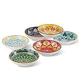Juego de 6 Cuencos Aperitivo - Cuencos Ceramica Colores - Plato Pequeño para Aperitivos | Helado | Postre | Snacks | Tapas - Aptos para Microondas y Lavavajillas - 14 × 3.5 cm