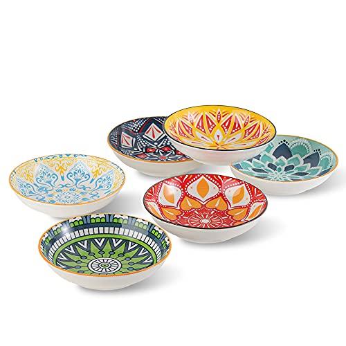 Ciotole Aperitivo Set da 6 - Ciotole Gelato Colorate - Ceramica Ciotoline da Dessert   Antipasti   Snack   Dolce - 14 × 3.5 cm