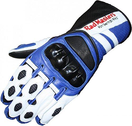 German Wear Motorradhandschuhe Motorrad Biker Handschuhe Lederhandschuhe, Größe:10=XL, Farbe:Blau