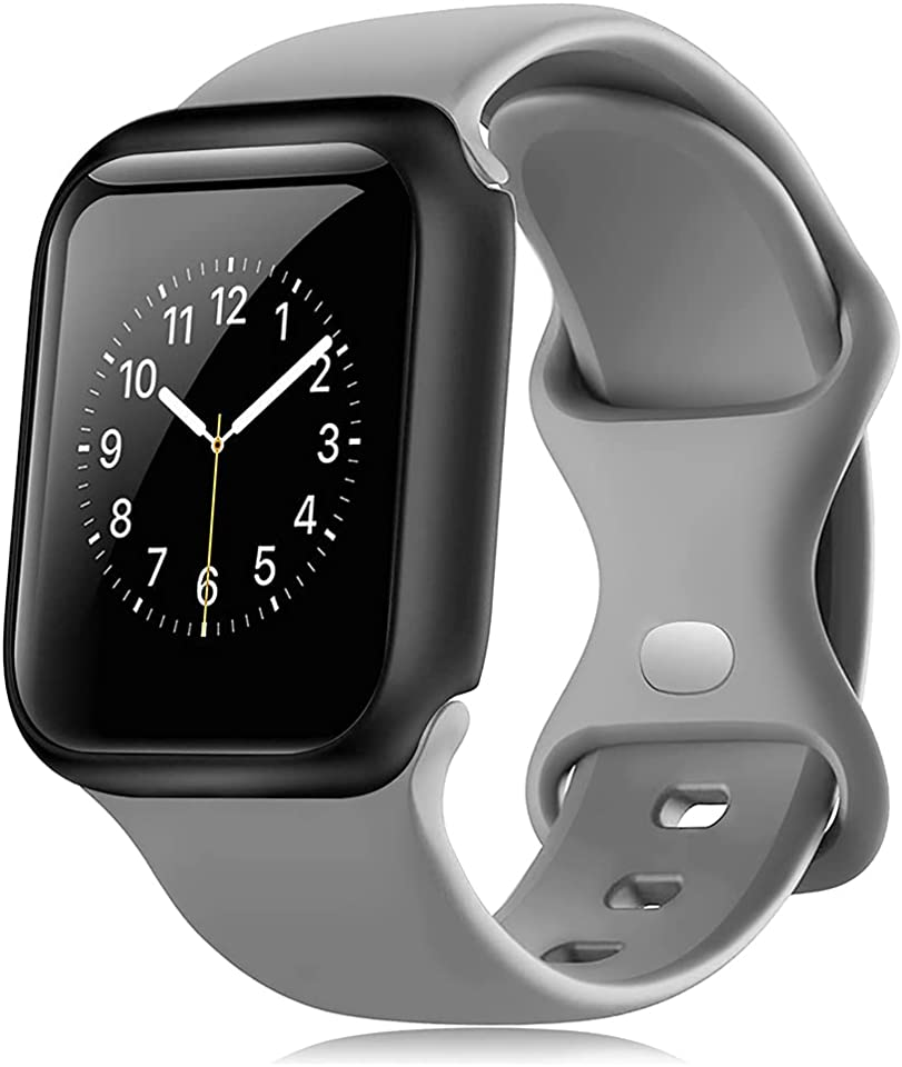 Lzz Compatible with Apple Watch Bands 44mm 42mm 40mm 38mm, Soft Thin Silicone Sport Replacement Strap for iWatch Series SE 6 5 4 3 2 1 for Women & Men