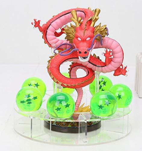 MSC Toy Figura Dragon Shenron Rojo PVC Dragon Ball Z + 7 Bolas de Dragon Verde 3,5 cm diametro + Estante Expositor MWC DBZ Figuras accion Juguetes Goku Dragon Ball Super Espectacular Akira