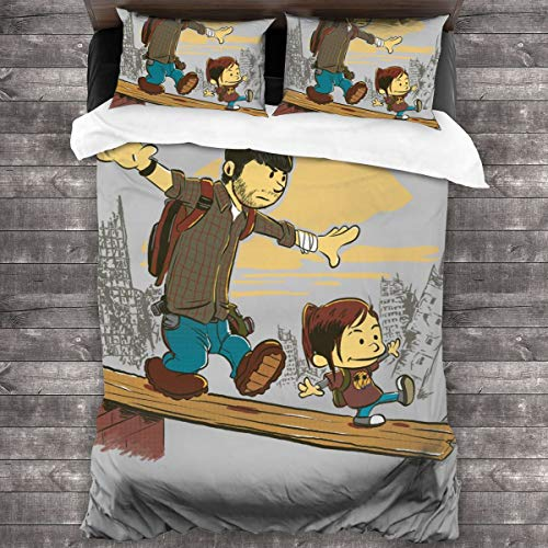 KUKHKU Two Of Us Joel And Ellie The Last Of Us 3 Pieces Bedding Set Duvet Cover 86″x70″,Decorative 3 Piece Bedding Set with 2 Pillow Shams