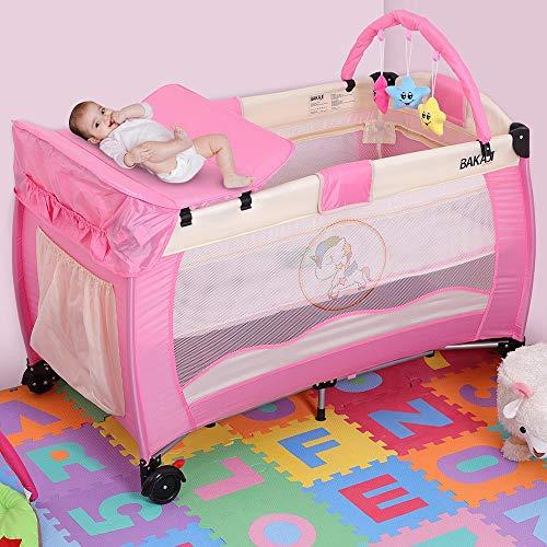 BAKAJI Cuna Box de juegos de camping para niños, con cambiador y arco de juegos extraíbles, estructura de metal plegable con apertura de cremallera, bolsillos laterales, ruedas y funda, rosa