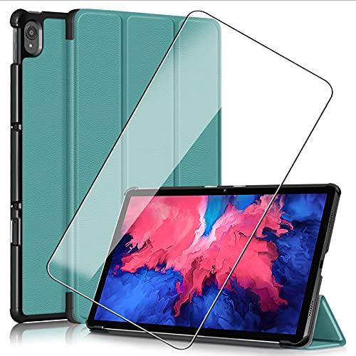KJYF Funda para Lenovo Pad Pro 2021 (11.50'), Silicone Case + Cristal Templado Protectores Pantalla, Soporte Plegable PU Cuero Flip Cover Prueba de Arañazos Caso - Green