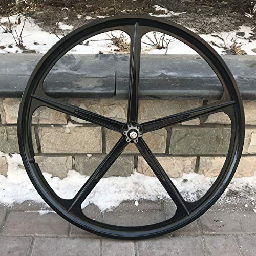 29' Rear Mag Wheel ONLY with120mm Rear Width For Rotary Single Speed Flywheel/ 700c Magnesium Wheels/Black/Disc Brake - for Beach Cruisers, MTB's, and Gas Powered Bicycles