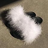 LJJYF Zapatillas de Estar por Casa de Mujer/Hombre de,Zapatillas Sandalias de Felpa Modernas para mujer-blanco-EU36