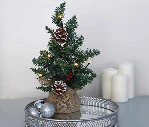 HomeZone Christmas Mini Tree with 10 Warm White LED Lights Table Top Xmas Decoration Pinecone & Berry Tree with Burlap Hessian Base Indoor Use Only Festive Decor Centrepiece Window Battery Operated