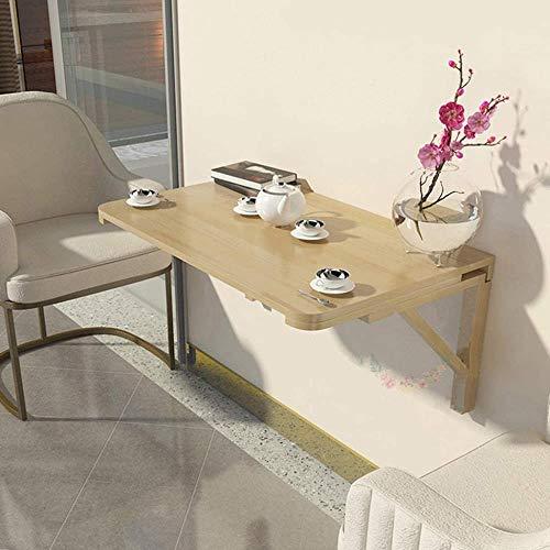 JIADUOBAO Mesa plegable de pared de madera maciza para cocina, balcón, banco de trabajo plegable, soporte de madera, encimera impermeable, elegante lisa (tamaño: 80 x 60 cm)
