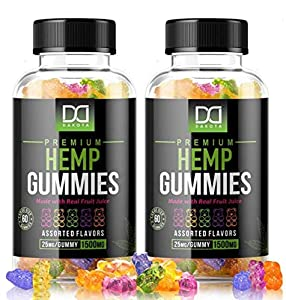 Hemp Gummies Supplements for Stress Relief Aid Mood Inflammation Focus Calm Extra Strength Vitamin Chewable for Adults, Best Relaxing Pure Natural Hemp Oil Gummy Bear Edibles Candy (1500mg   2 Pack)