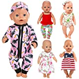 ZITA ELEMENT 10 Items 14-16 Inch Baby Doll Clothes Dresses Jumpsuit Swimsuit for 15 Inch Bitty Baby Doll, American 18 Inch Girl Doll and 43cm New Born Baby Dolls Clothes Outfits