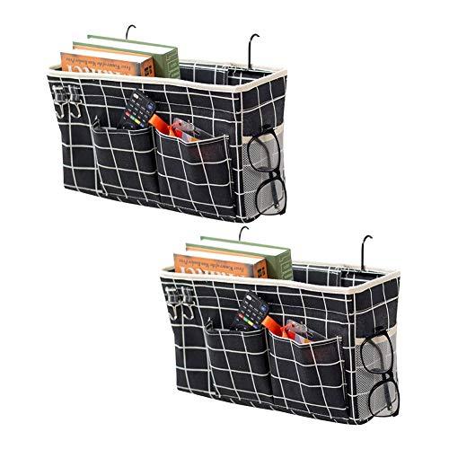 Fittoway - Organizador de cama de 2 piezas, para mesita de noche, para el dormitorio, la escuela en casa, color negro