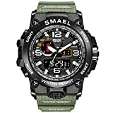 SMAEL Men's Watch, Sports Wrist Watch with Quartz Dual Movement, Analog-Digital Display Watches for Men (Green)