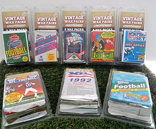 Over 70 Vintage Football Cards in 5 Vintage Unopened Football Wax Packs from various brands ranging in years 1989 to 1999. Comes in Custom Souvenir case. Great for 1st time collectors. By 3bros