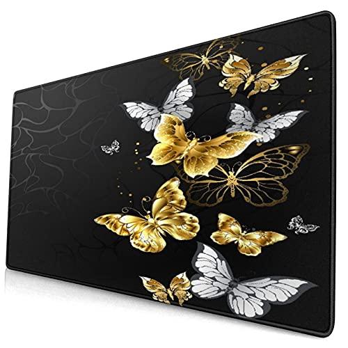 Großwild-Mauspad,Gold Weiß Schmetterlinge Schwarz, Schlafzimmer Badezimmer Teppiche C.A,Rutschfester Schreibtisch-Pad-Schutz,Schreibtisch-Schreibmatte für Desktop,Computer-Laptop,15.8'x29.5'
