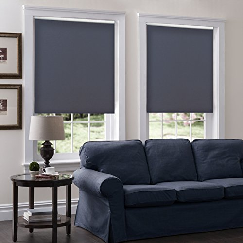 Windowsandgarden Cordless Roller Shades, Any Size 19-96 Wide, 30W x 36H, Serena Light Filtering/Room Darkening Charcoal
