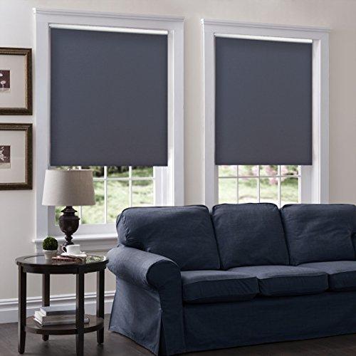 Windowsandgarden Cordless Roller Shades, Sizes 15-68 Wide, 30W x 36H, Serena Light Filtering/Room Darkening Charcoal