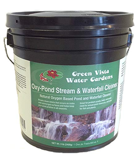 Green Vista Oxy-Pond, Stream and Waterfall Cleaner - 5 Pound Container - Removes Algae Debris and Green Scum from Water and Surfaces - Uses Oxygen's Natural Power - Safe for Koi, Other Fish, Plants