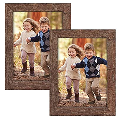 ZIRANLING 5X7 Picture Frames Wood Rustic Brown Set of 2 Packs for Table Top and Wall Mounting Display