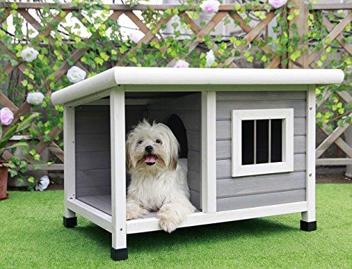 Petsfit hölzerne Hundehütte für draußen mit Fenster, EIN Zimmer und EIN Wohnzimmer für Haustiere zum Schlafen und Ausruhen, Ziegel Asphalt Dach Hundehütte, 85 cm x 62 cm x 58 cm, hellgrau.