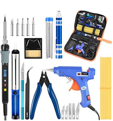 Soldador confiable Handskit Digital estaño Soldador eléctrico Kit de herramientas reguladoras 80 W 60 W pegamento G-u-n Destornillador pelacables Equipo de soldadura (color: 80 W) (color: 80 W)