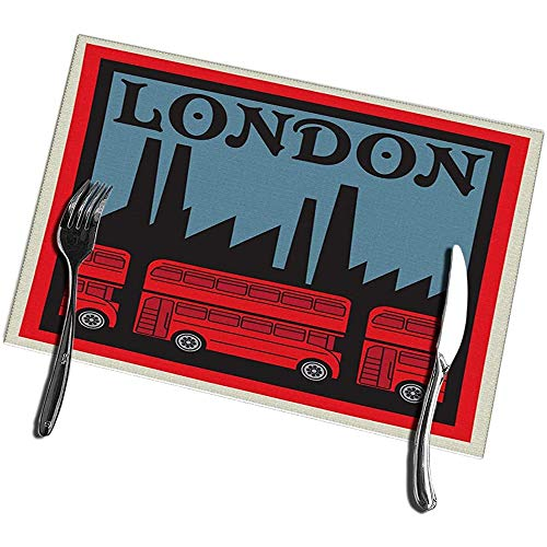 Esstisch Tischsets Set mit 6 Etiketten London Red Double Decker Bus Tischsets