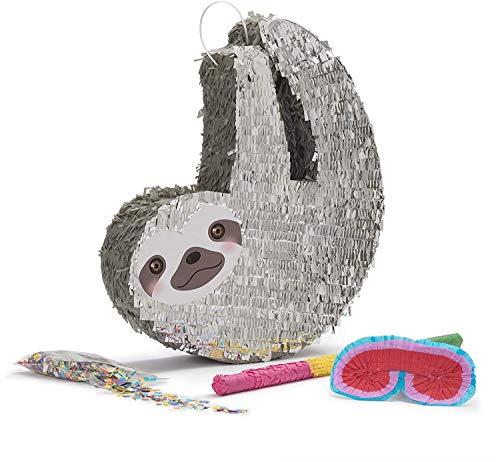 Lumaland Faultier Pinata Set zum Befüllen inkl. Schläger, Maske und 50 g Konfetti - 46 x 45 x 10 cm - Party Piñata - Grau