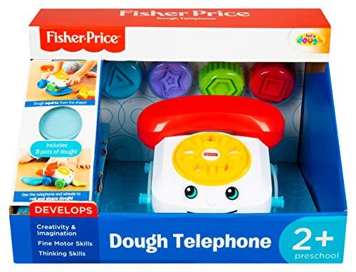 Fisher Price- Kit téléphone avec 3 Pots de pâte à Modeler et Accessoires pour Enfants à partir de 2 Ans, FPR-4831