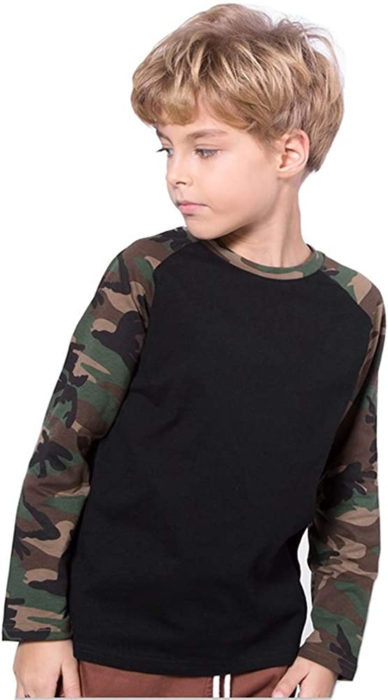 Coralup Boys Camouflage Raglan Sleeved T-Shirt Long Sleeved Cotton Shirts(Black, 2-3T)