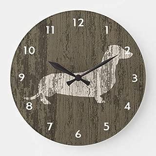 OSWALDO Weathered Dachshund Clock Decorative Round Wooden Wall Clock - 12 inch
