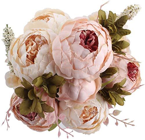 Houda künstlicher Pfingstrosen-Strauß, Kunstblumen aus Seide, Bouquet für Zuhause oder als Hochzeitsdekoration hellrosa
