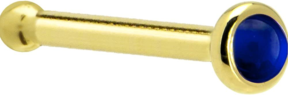 Solid 14k Free shipping anywhere lowest price in the nation Yellow Gold 2mm Genuine Gau Stud Bone Sapphire Nose 18