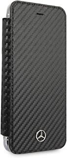 Mercedes Benz Bookstyle PU Leather Case for iPhone 8 Plus and iPhone 7 Plus Hard Cell Phone Cover Carbon Fiber Inspired Design Clear/Black Easy Snap-on Shock Absorption Cover Officially Licensed.