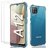 Funda para Samsung A12,Funda Samsung 12 Transparente Carcasa+ 2 Pcs Protector de Pantalla y Cristal/Vidrio Templado,Silicona TPU Airbag Anti-Choque Ultra-Delgado Case para Galaxy A12 6.5'